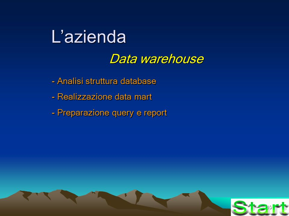 10 Lazienda Data warehouse - Analisi struttura database - Realizzazione data mart - Preparazione query e report