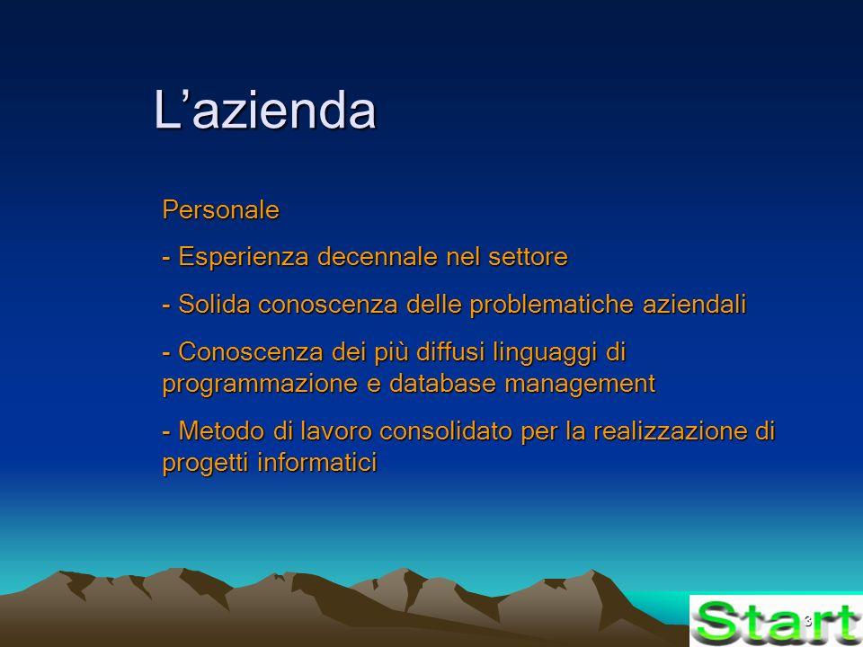 3 Lazienda Personale - Esperienza decennale nel settore - Solida conoscenza delle problematiche aziendali - Conoscenza dei più diffusi linguaggi di programmazione e database management - Metodo di lavoro consolidato per la realizzazione di progetti informatici