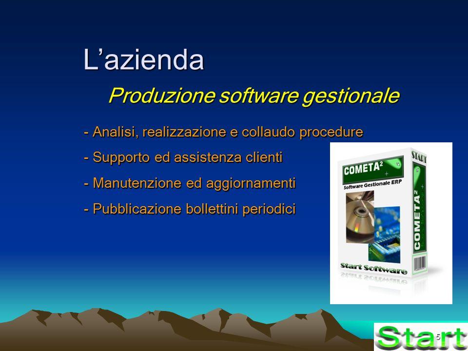 5 Lazienda Produzione software gestionale - Analisi, realizzazione e collaudo procedure - Supporto ed assistenza clienti - Manutenzione ed aggiornamenti - Pubblicazione bollettini periodici