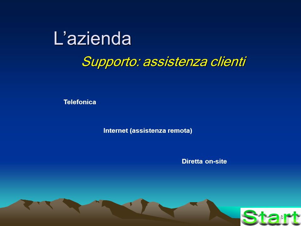8 Lazienda Supporto: assistenza clienti Telefonica Internet (assistenza remota) Diretta on-site