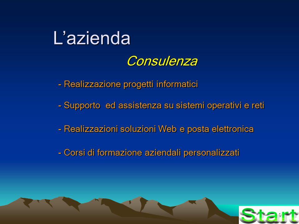 9 Lazienda Consulenza - Realizzazione progetti informatici - Supporto ed assistenza su sistemi operativi e reti - Realizzazioni soluzioni Web e posta elettronica - Corsi di formazione aziendali personalizzati