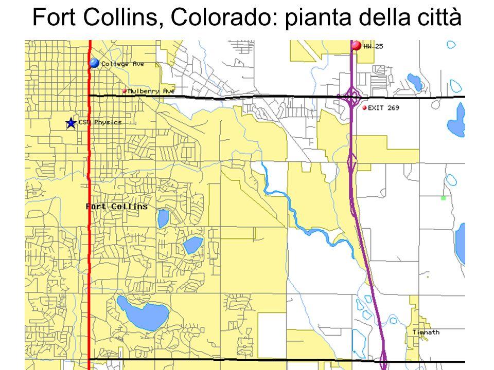 Fort Collins, Colorado: pianta della città