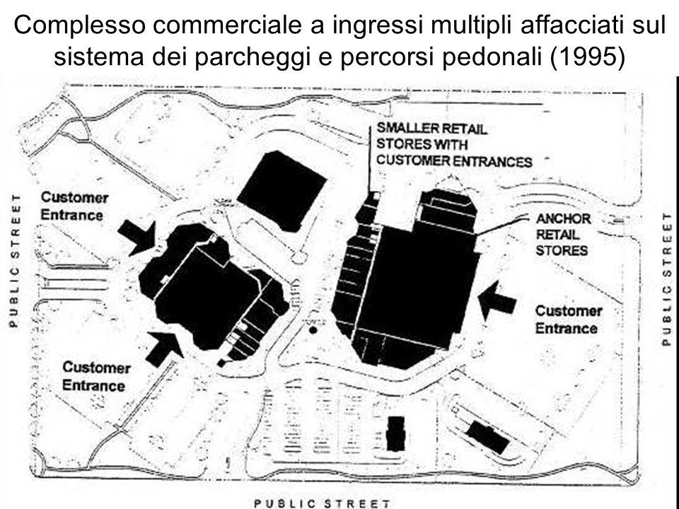 Complesso commerciale a ingressi multipli affacciati sul sistema dei parcheggi e percorsi pedonali (1995)