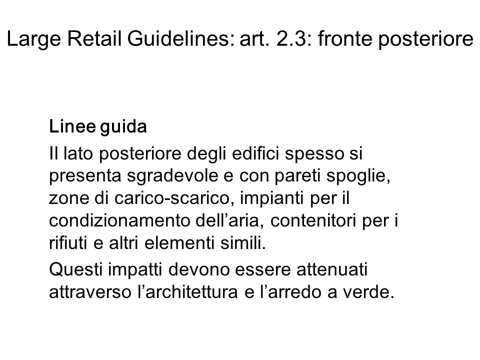 Large Retail Guidelines: art.