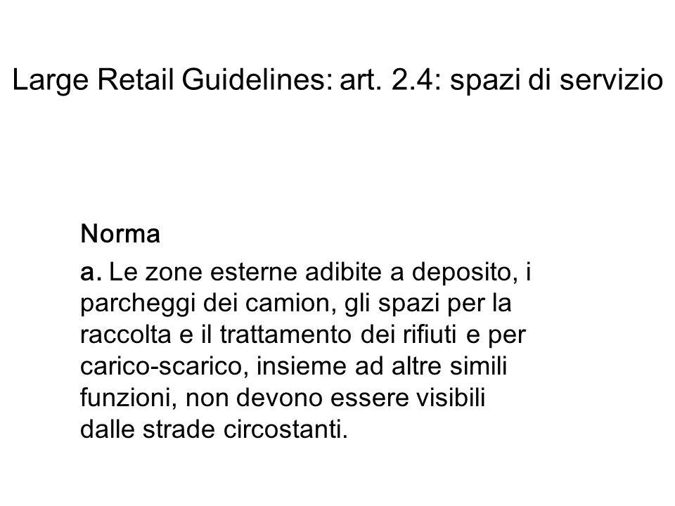 Large Retail Guidelines: art. 2.4: spazi di servizio Norma a.