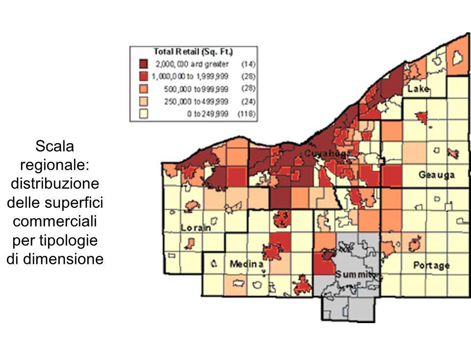 Scala regionale: distribuzione delle superfici commerciali per tipologie di dimensione
