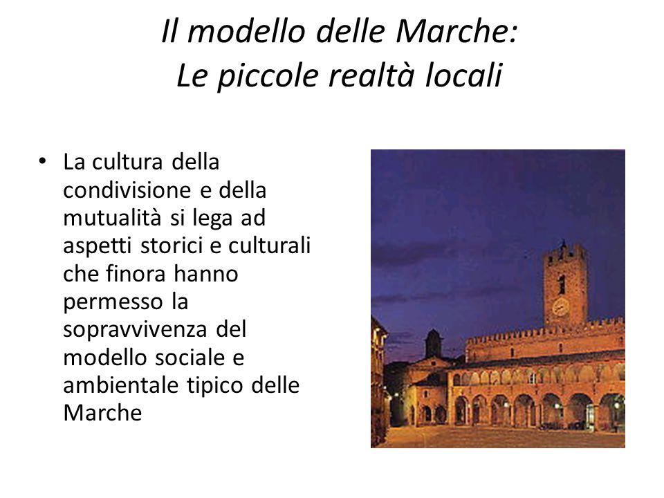 Il modello delle Marche: Le piccole realtà locali La cultura della condivisione e della mutualità si lega ad aspetti storici e culturali che finora hanno permesso la sopravvivenza del modello sociale e ambientale tipico delle Marche