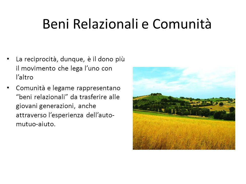 Beni Relazionali e Comunità La reciprocità, dunque, è il dono più il movimento che lega luno con laltro Comunità e legame rappresentano beni relaziona
