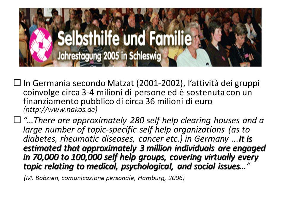 In Germania secondo Matzat (2001-2002), lattività dei gruppi coinvolge circa 3-4 milioni di persone ed è sostenuta con un finanziamento pubblico di ci