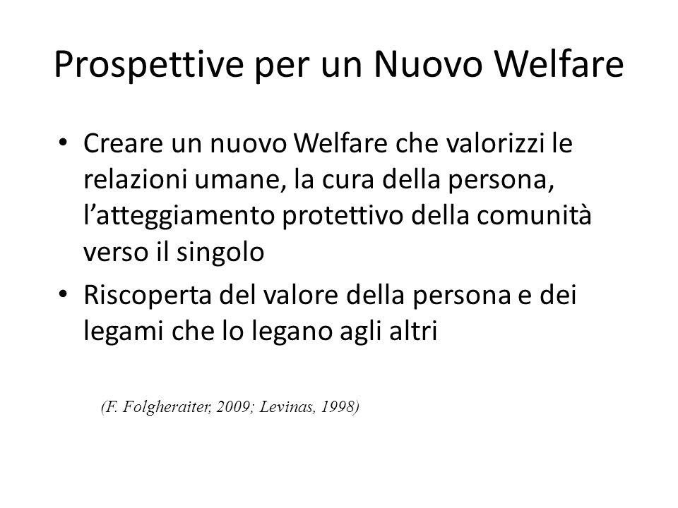 Prospettive per un Nuovo Welfare Creare un nuovo Welfare che valorizzi le relazioni umane, la cura della persona, latteggiamento protettivo della comu