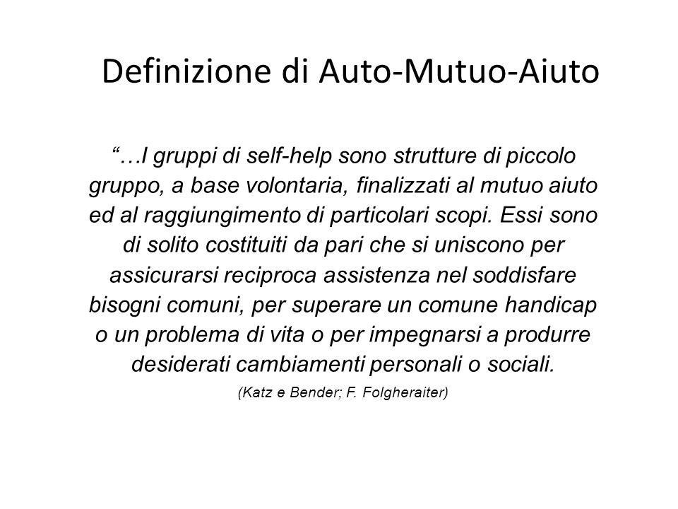 Definizione di Auto-Mutuo-Aiuto …I gruppi di self-help sono strutture di piccolo gruppo, a base volontaria, finalizzati al mutuo aiuto ed al raggiungimento di particolari scopi.