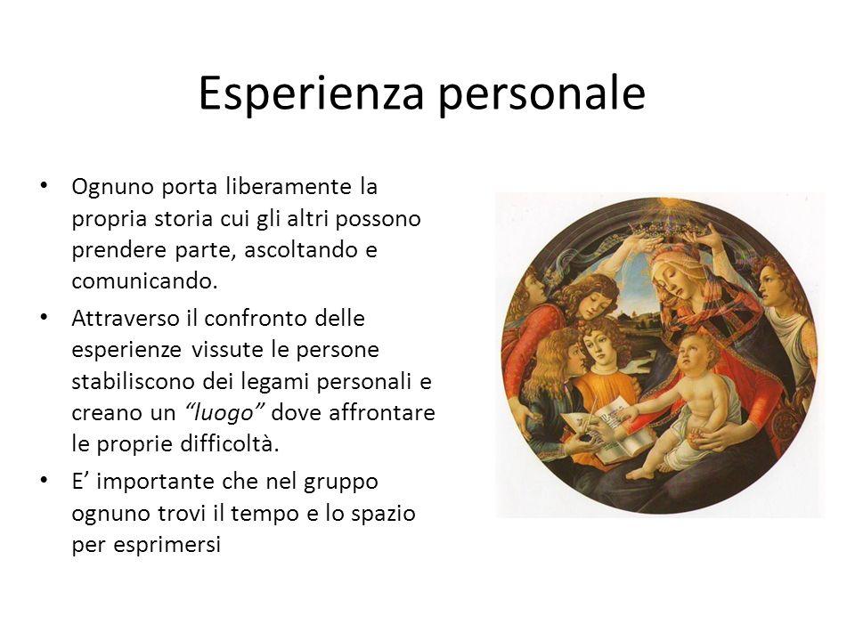 Esperienza personale Ognuno porta liberamente la propria storia cui gli altri possono prendere parte, ascoltando e comunicando. Attraverso il confront