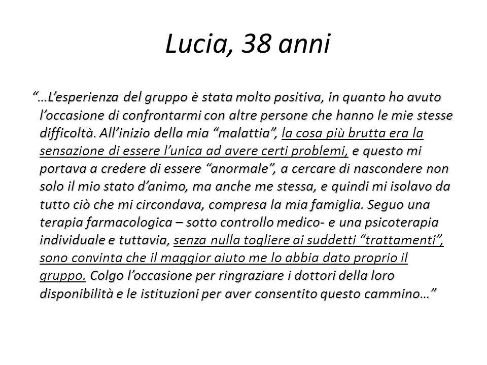 Lucia, 38 anni …Lesperienza del gruppo è stata molto positiva, in quanto ho avuto loccasione di confrontarmi con altre persone che hanno le mie stesse difficoltà.