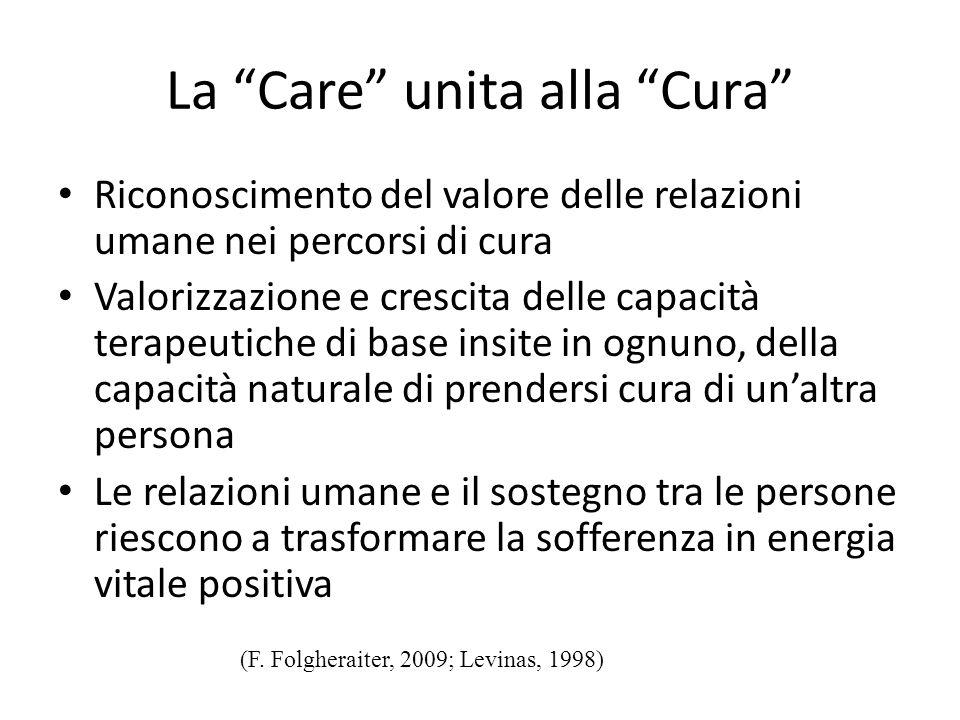 La Care unita alla Cura Riconoscimento del valore delle relazioni umane nei percorsi di cura Valorizzazione e crescita delle capacità terapeutiche di