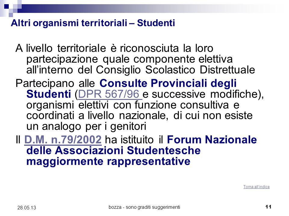 bozza - sono graditi suggerimenti11 28.05.13 Altri organismi territoriali – Studenti A livello territoriale è riconosciuta la loro partecipazione qual