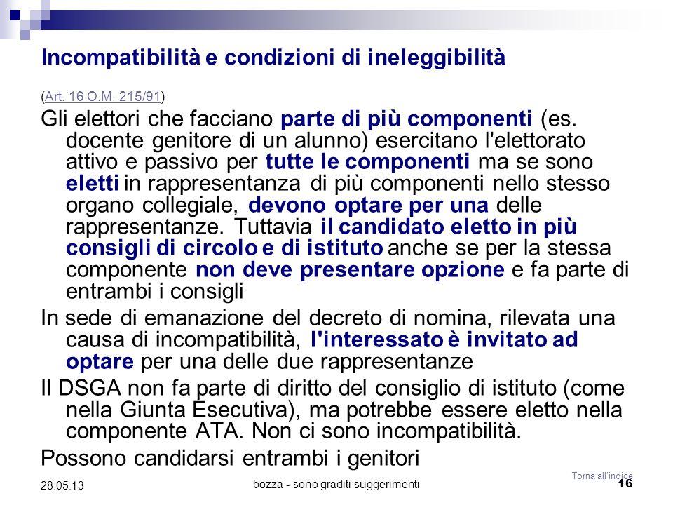 bozza - sono graditi suggerimenti16 28.05.13 Incompatibilità e condizioni di ineleggibilità (Art. 16 O.M. 215/91)Art. 16 O.M. 215/91 Gli elettori che