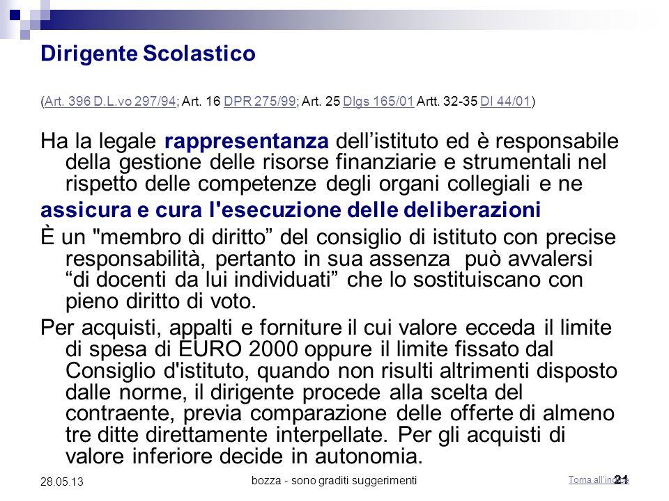 bozza - sono graditi suggerimenti21 28.05.13 Dirigente Scolastico (Art. 396 D.L.vo 297/94; Art. 16 DPR 275/99; Art. 25 Dlgs 165/01 Artt. 32-35 DI 44/0