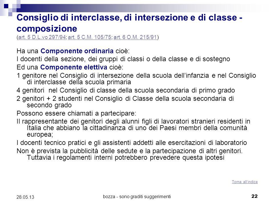 bozza - sono graditi suggerimenti22 28.05.13 Consiglio di interclasse, di intersezione e di classe - composizione (art. 5 D.L.vo 297/94; art. 5 C.M. 1