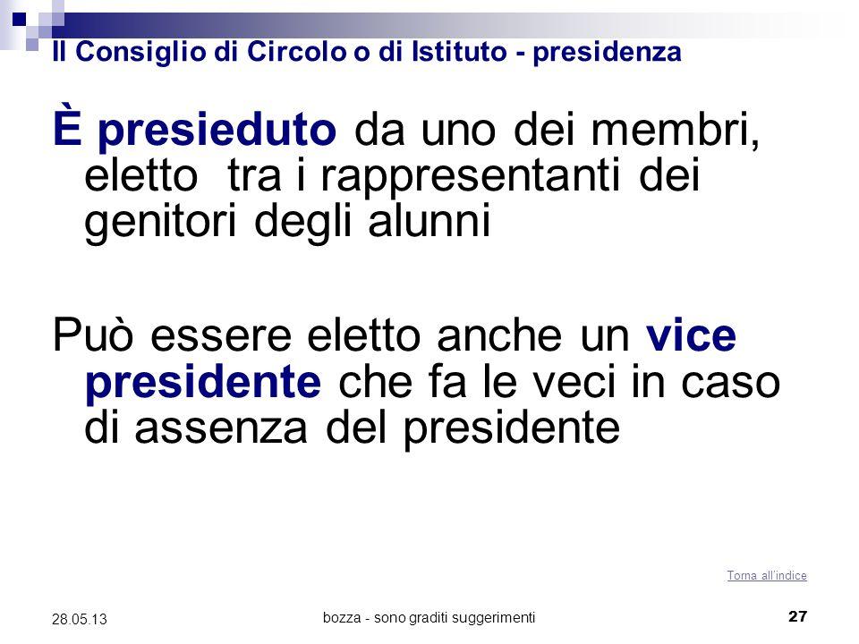 bozza - sono graditi suggerimenti27 28.05.13 Il Consiglio di Circolo o di Istituto - presidenza È presieduto da uno dei membri, eletto tra i rappresen