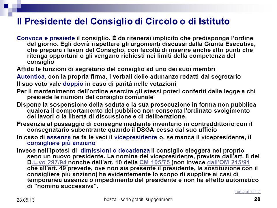 bozza - sono graditi suggerimenti28 28.05.13 Il Presidente del Consiglio di Circolo o di Istituto Convoca e presiede il consiglio. È da ritenersi impl