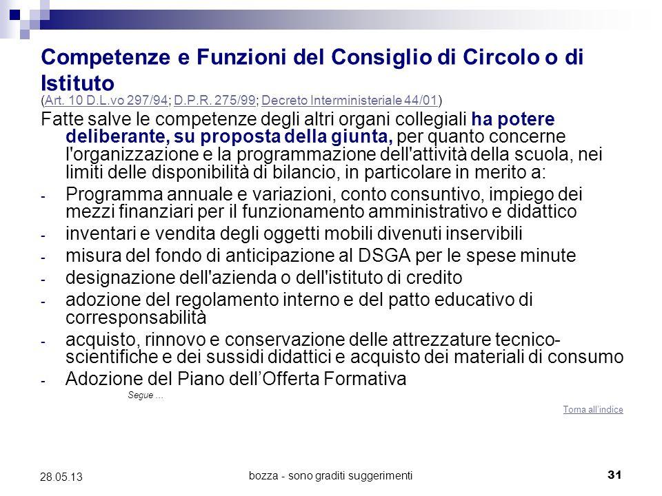 bozza - sono graditi suggerimenti31 28.05.13 Competenze e Funzioni del Consiglio di Circolo o di Istituto (Art.