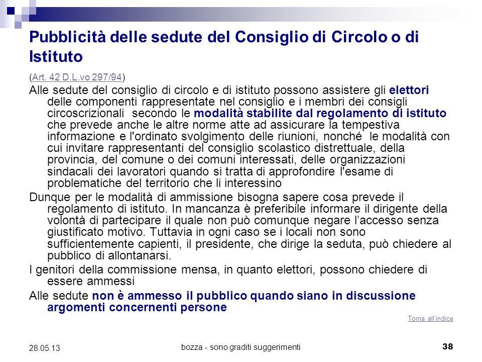 bozza - sono graditi suggerimenti38 28.05.13 Pubblicità delle sedute del Consiglio di Circolo o di Istituto (Art. 42 D.L.vo 297/94)Art. 42 D.L.vo 297/