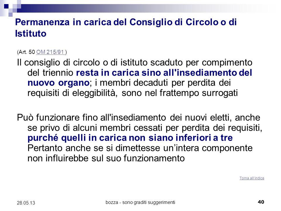 bozza - sono graditi suggerimenti40 28.05.13 Permanenza in carica del Consiglio di Circolo o di Istituto (Art.