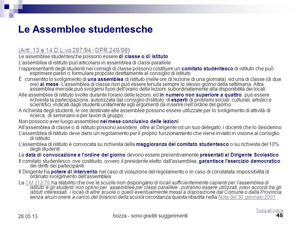 bozza - sono graditi suggerimenti45 28.05.13 Le Assemblee studentesche (Artt. 13 e 14 D.L.vo 297/94 (Artt. 13 e 14 D.L.vo 297/94 ; DPR 249/98)DPR 249/