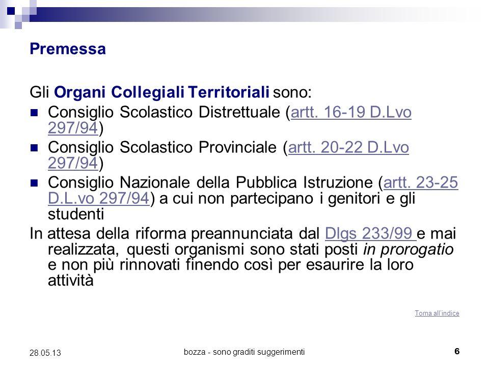 bozza - sono graditi suggerimenti6 28.05.13 Premessa Gli Organi Collegiali Territoriali sono: Consiglio Scolastico Distrettuale (artt. 16-19 D.Lvo 297