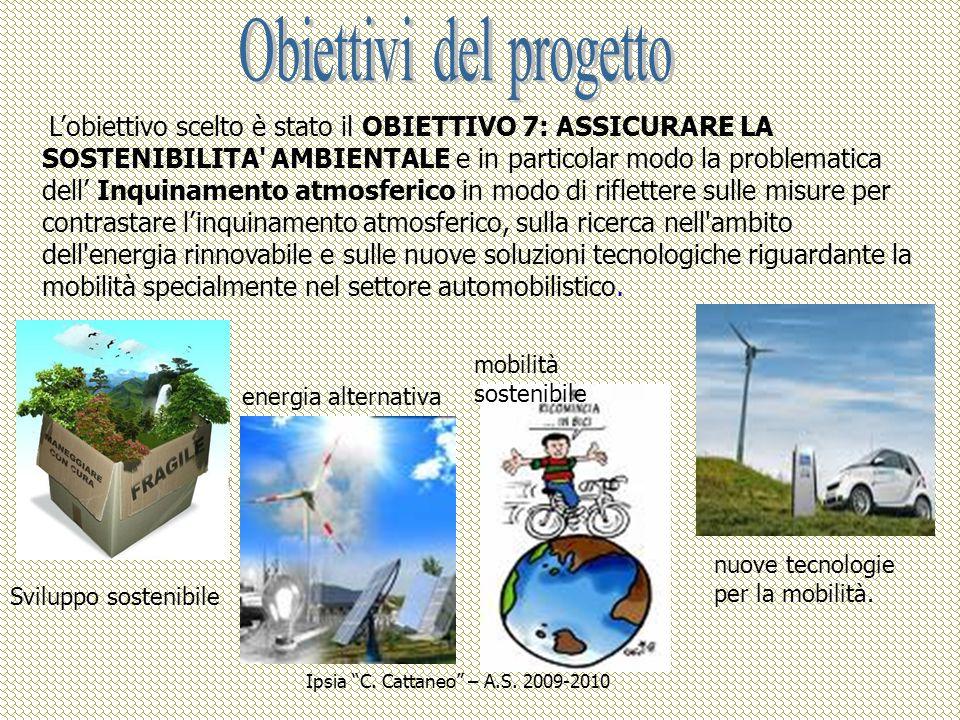 Sviluppo sostenibile energia alternativa mobilità sostenibile nuove tecnologie per la mobilità. Lobiettivo scelto è stato il OBIETTIVO 7: ASSICURARE L