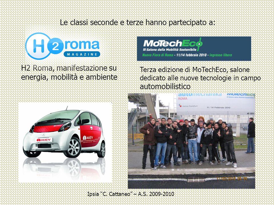 Le classi seconde e terze hanno partecipato a: H2 Roma, manifestazione su energia, mobilità e ambiente Terza edizione di MoTechEco, salone dedicato al