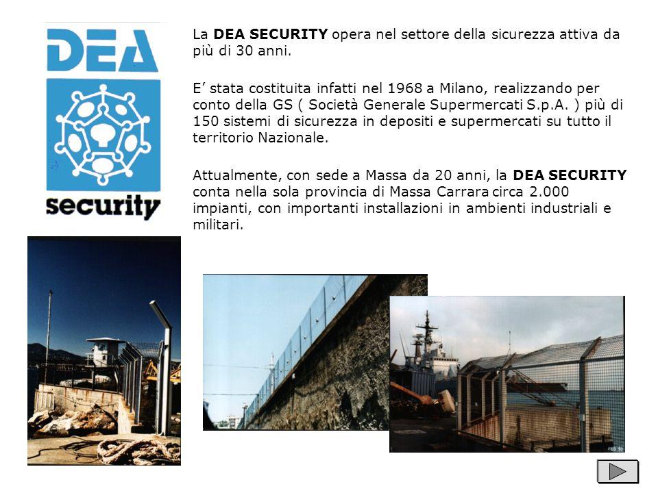 La DEA SECURITY opera nel settore della sicurezza attiva da più di 30 anni. E stata costituita infatti nel 1968 a Milano, realizzando per conto della