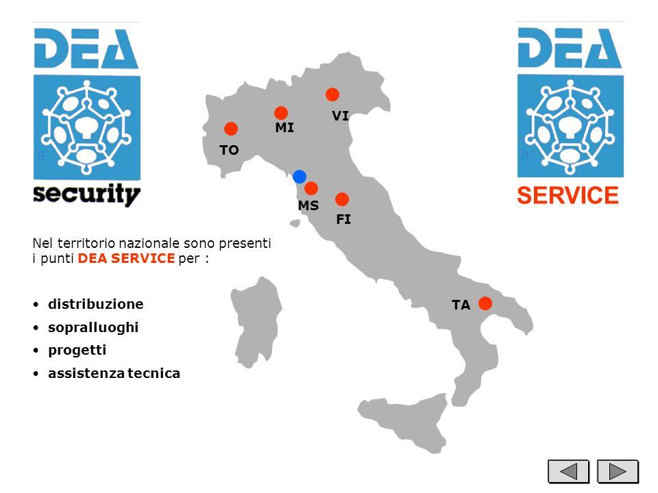 SERVICE Nel territorio nazionale sono presenti i punti DEA SERVICE per : distribuzione sopralluoghi progetti assistenza tecnica MI TO MS VI FI TA