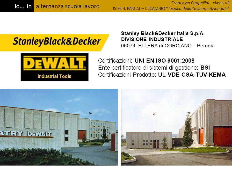 alternanza scuola lavoro Certificazioni: UNI EN ISO 9001:2008 Ente certificatore di sistemi di gestione: BSI Certificazioni Prodotto: UL-VDE-CSA-TUV-K