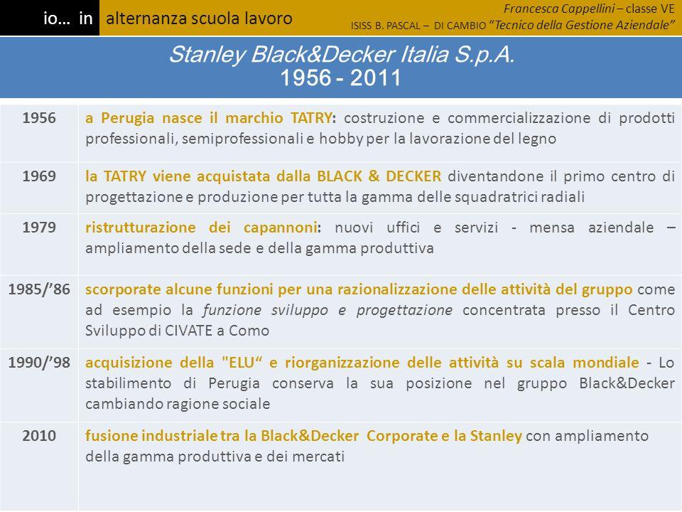 Stanley Black&Decker Italia S.p.A. 1956 - 2011 1956a Perugia nasce il marchio TATRY: costruzione e commercializzazione di prodotti professionali, semi