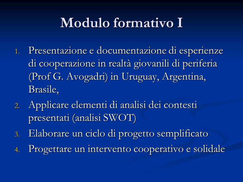Modulo formativo I 1.