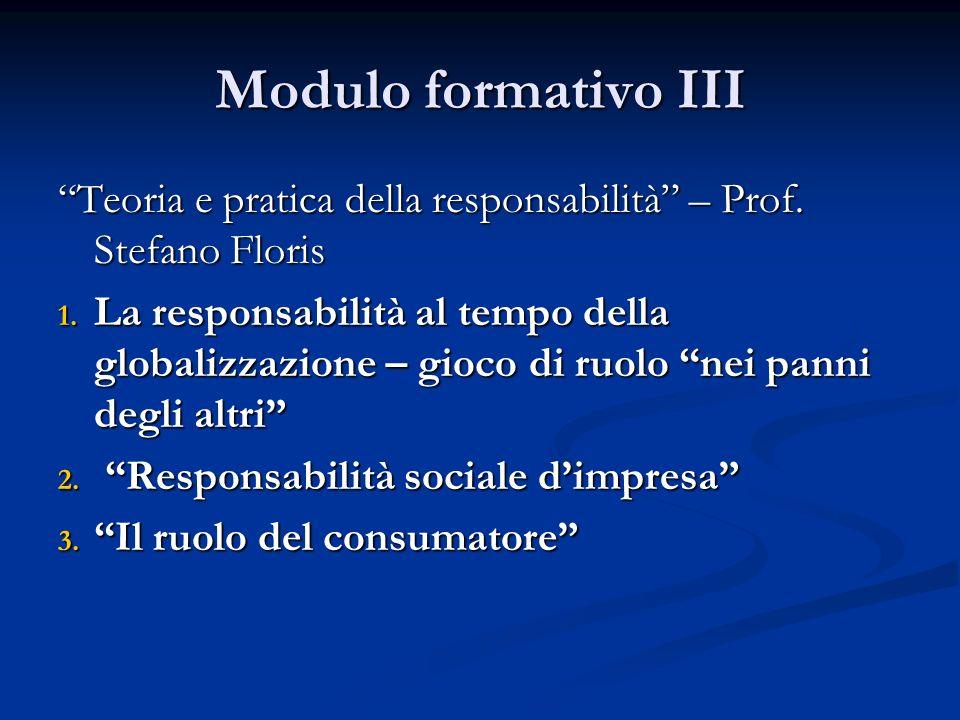 Modulo formativo III Teoria e pratica della responsabilità – Prof.