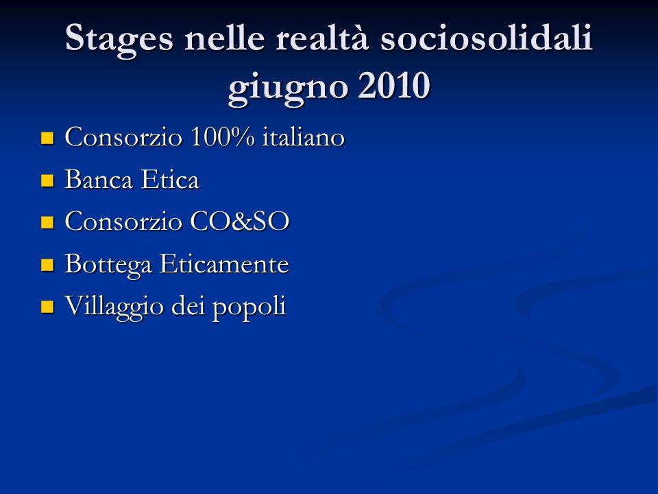 Stages nelle realtà sociosolidali giugno 2010 Consorzio 100% italiano Consorzio 100% italiano Banca Etica Banca Etica Consorzio CO&SO Consorzio CO&SO Bottega Eticamente Bottega Eticamente Villaggio dei popoli Villaggio dei popoli