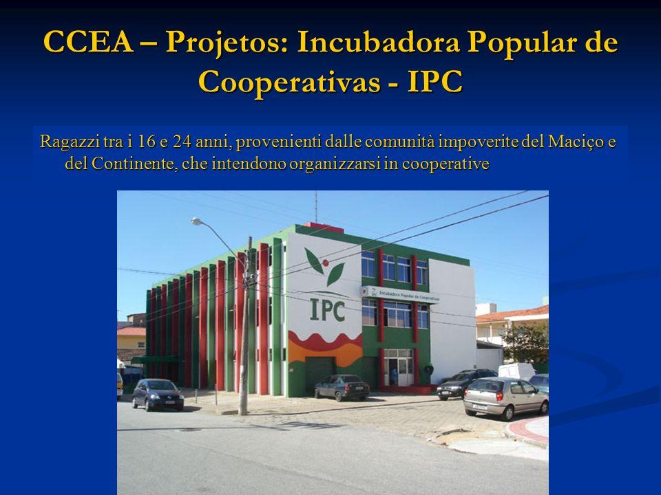 CCEA – Projetos: Incubadora Popular de Cooperativas - IPC Ragazzi tra i 16 e 24 anni, provenienti dalle comunità impoverite del Maciço e del Continente, che intendono organizzarsi in cooperative