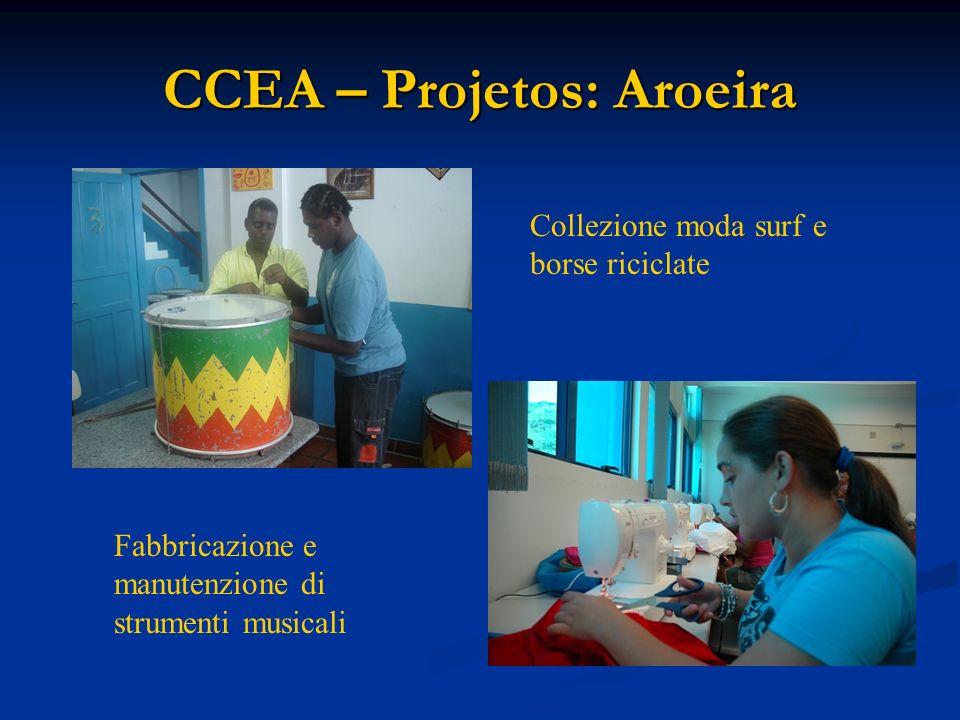 CCEA – Projetos: Aroeira Collezione moda surf e borse riciclate Fabbricazione e manutenzione di strumenti musicali