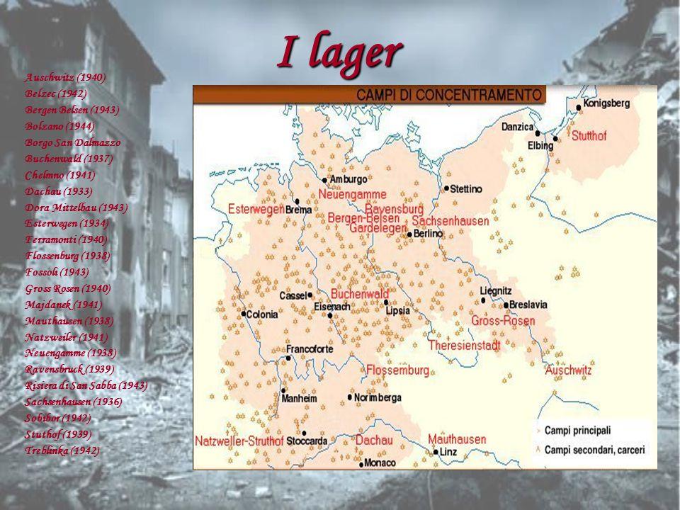 I lager Auschwitz (1940) Belzec (1942) Bergen Belsen (1943) Bolzano (1944) Borgo San Dalmazzo Buchenwald (1937) Chelmno (1941) Dachau (1933) Dora Mitt