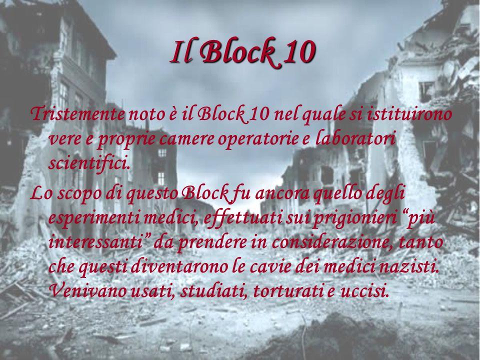 Il Block 10 Tristemente noto è il Block 10 nel quale si istituirono vere e proprie camere operatorie e laboratori scientifici. Lo scopo di questo Bloc