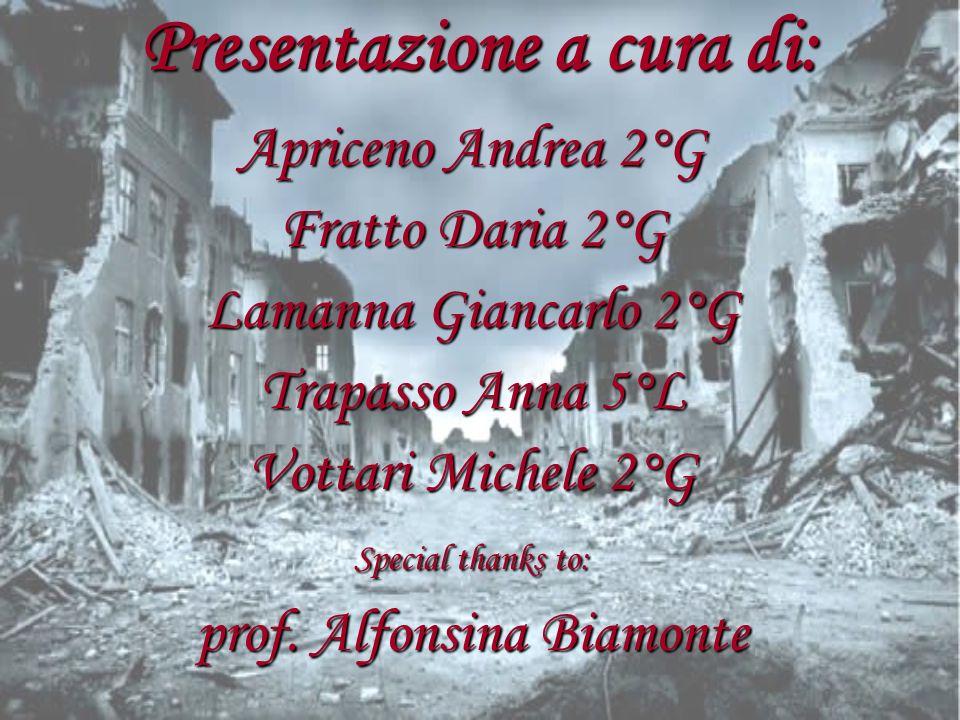 Presentazione a cura di: Apriceno Andrea 2°G Fratto Daria 2°G Lamanna Giancarlo 2°G Trapasso Anna 5°L Vottari Michele 2°G Special thanks to: prof. Alf
