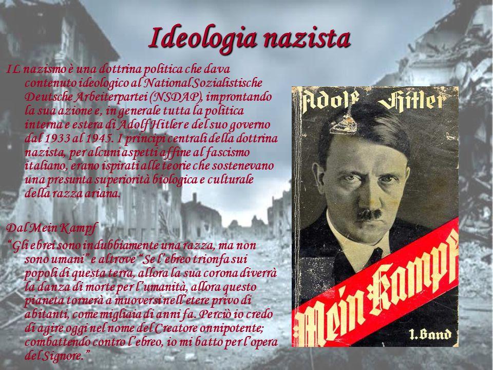 Ideologia nazista IL nazismo è una dottrina politica che dava contenuto ideologico al National Sozialistische Deutsche Arbeiterpartei (NSDAP), impront