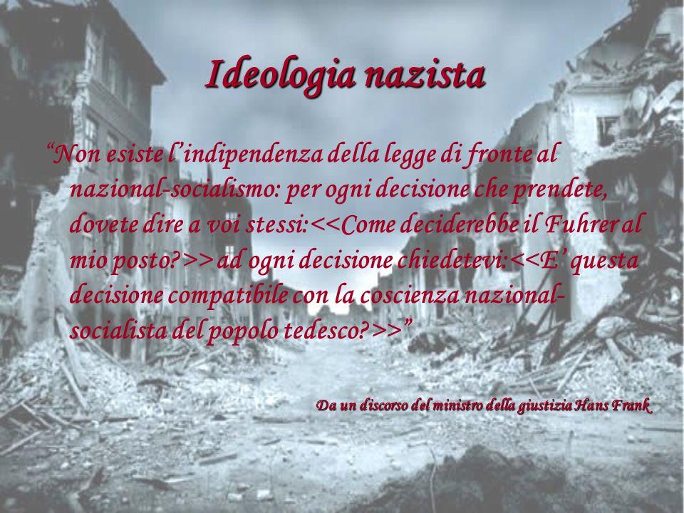 Ideologia nazista Non esiste lindipendenza della legge di fronte al nazional-socialismo: per ogni decisione che prendete, dovete dire a voi stessi: >