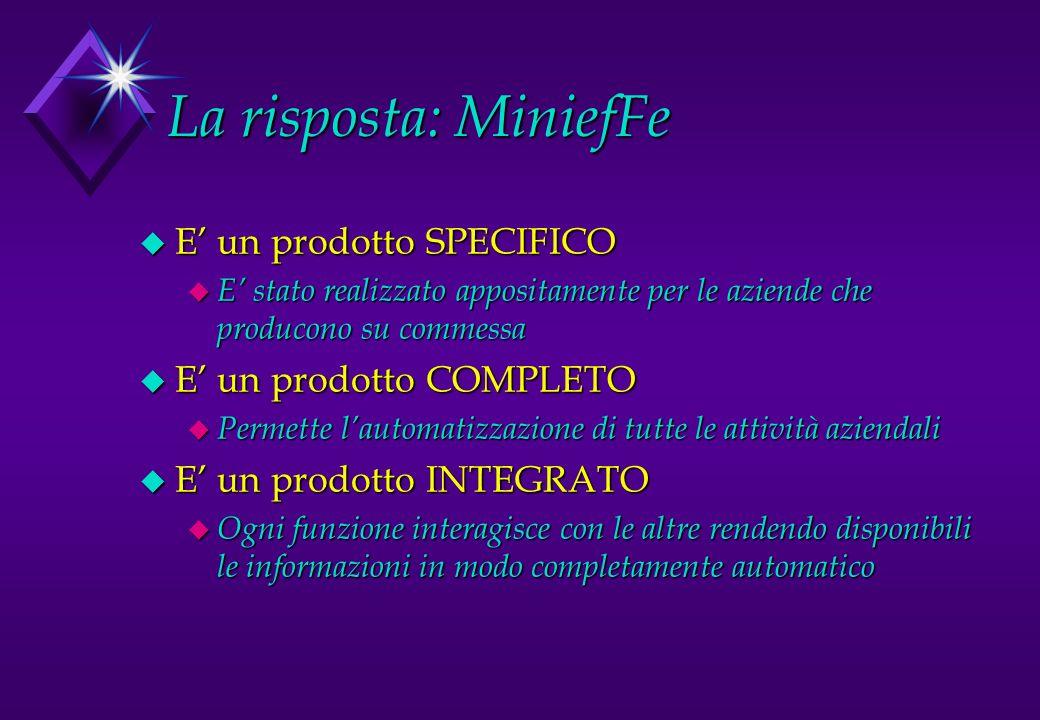 La risposta: MiniefFe u E un prodotto SPECIFICO u E stato realizzato appositamente per le aziende che producono su commessa u E un prodotto COMPLETO u