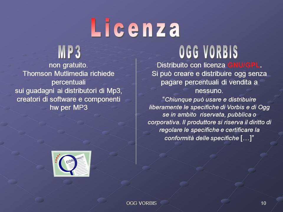10OGG VORBIS Distribuito con licenza GNU/GPL. Si può creare e distribuire ogg senza pagare percentuali di vendita a nessuno. Chiunque può usare e dist