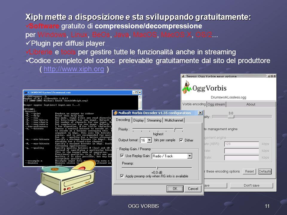 11OGG VORBIS Xiph mette a disposizione e sta sviluppando gratuitamente: Software gratuito di compressione/decompressione per Windows, Linux, BeOs, Jav