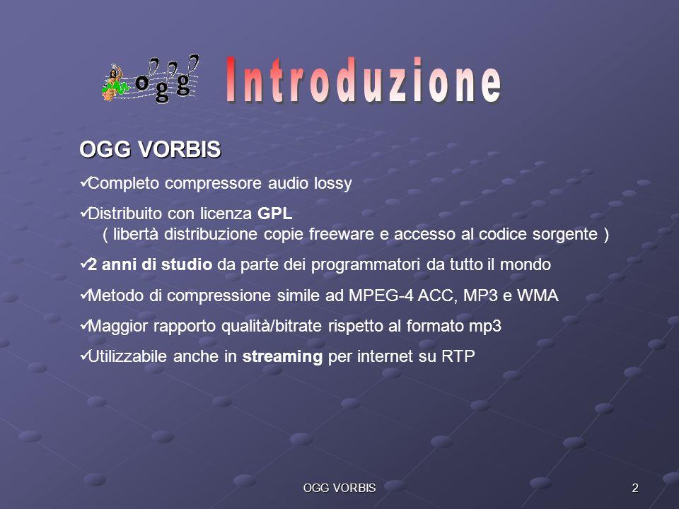 2OGG VORBIS Completo compressore audio lossy Distribuito con licenza GPL ( libertà distribuzione copie freeware e accesso al codice sorgente ) 2 anni