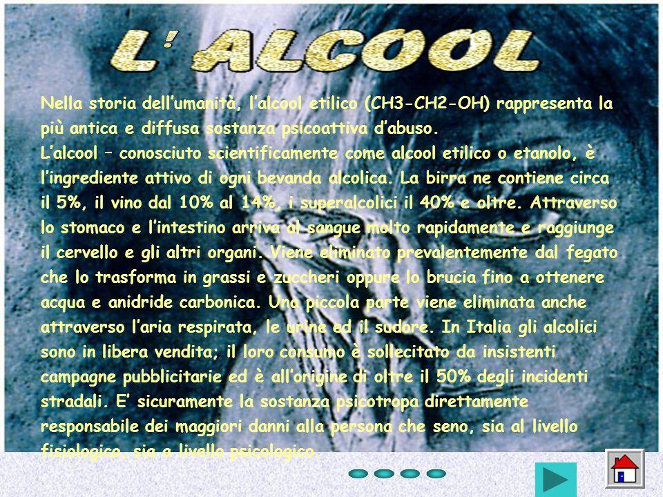 Nella storia dellumanità, lalcool etilico (CH3-CH2-OH) rappresenta la più antica e diffusa sostanza psicoattiva dabuso. Lalcool – conosciuto scientifi
